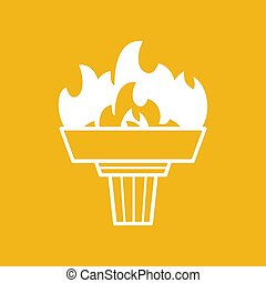 white torch icon with flame on a yellow background