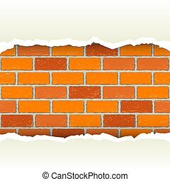 white torn paper brickwork background - White torn paper on...