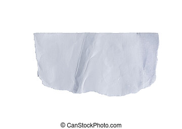 white torn paper on isolated white with clipping path.