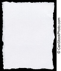 White torn paper page isolated on a black background.