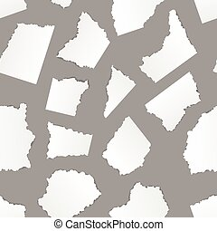 White torn paper pieces on grey background, seamless pattern