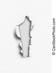 White torn paper with hole