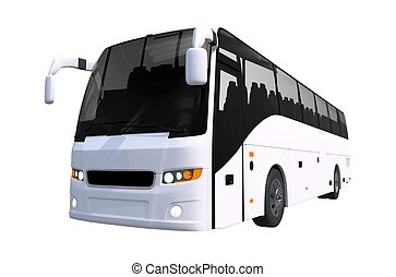 White Tour Bus Isolated on Solid White Background. Bus...