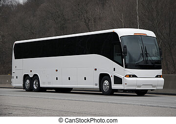 Bus - White Tour or Private Charter Bus on the Highway