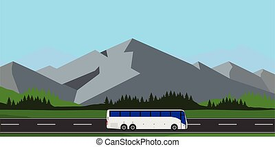 White tourist bus driving on the road vector illustration. Mountain landscape or background. Bus travel road. Bus highway