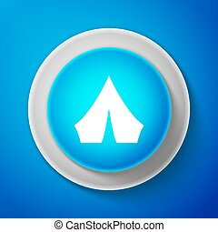 White Tourist tent icon isolated on blue background. Camping symbol. Circle blue button. Vector Illustration