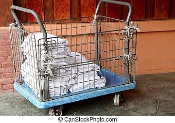 White towel in basket