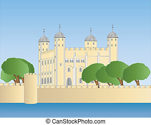 white tower of London - illustration of the white tower of...