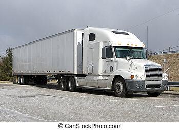 Semi Truck - White Tractor Trailer Semi Truck