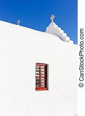white traditional church in Mykonos