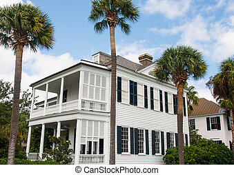White Traditional Two Story with Black Shutters and Palm Trees