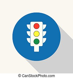White traffic light icon with colors.