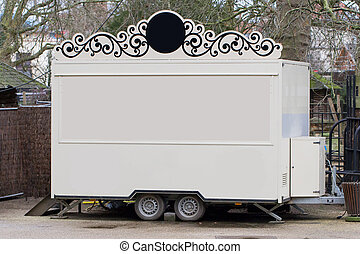 White trailer, shop on wheels
