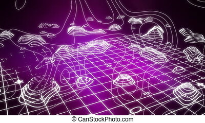 White trails forming relief on a 3D quadrilled background - ...