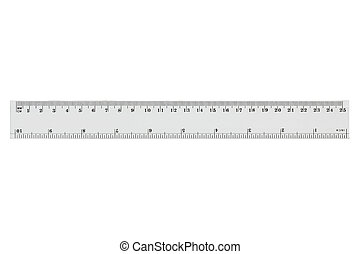 White transparent ruler, isolated on white, with clipping...