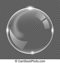 White transparent soap air bubble, isolated on black background