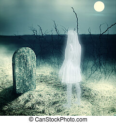 Young white transparent woman ghost look on her grave gravestone on old cemetery. Midnight with full moon
