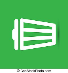 white trash bin icon on the green background