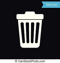 White Trash can icon isolated on black background. Garbage bin sign. Vector Illustration
