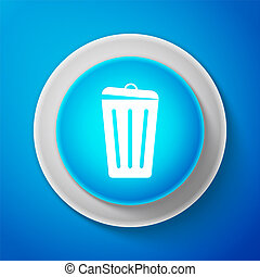 White Trash can icon isolated on blue background. Garbage bin sign. Circle blue button with white line. Vector Illustration