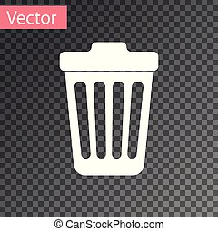 White Trash can icon isolated on transparent background. Garbage bin sign. Vector Illustration