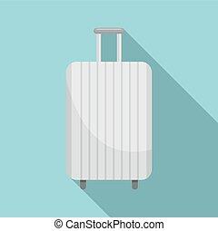 White travel bag icon, flat style