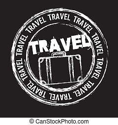 white travel stamp isolated over black background. vector