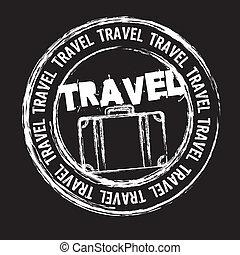 travel stamp - white travel stamp isolated over black ...
