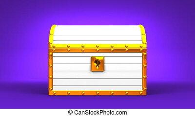 White Treasure Chest On Purple Background.