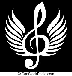 White treble clef with wings. Vector illustration