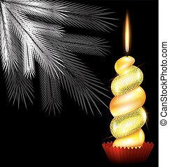 white tree and yellow candle