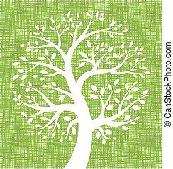 White Tree icon on Green Canvas texture, vector illustration...