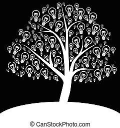 White tree of light bulb icon on black background