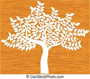 white tree silhouette isolated on background wood, vector