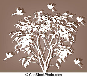 White tree with birds