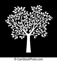 White Tree with Leafs on black background. Vector Illustration.