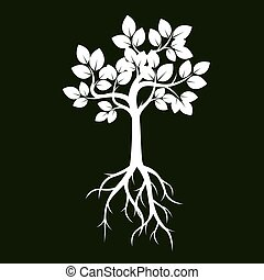 White Tree with Leaves and Roots on green background. Vector Illustration.