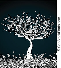 White tree with round leaves. Vector dark background