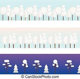 White trees background. Winter forest horisontal banners. Vector illustration