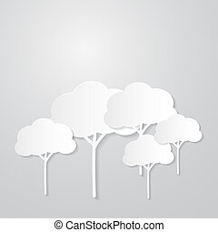 White Trees Cut From Paper on Grey Background