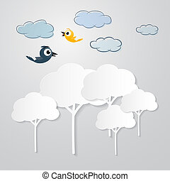 White Trees Cut From Paper with Clouds and Birds on Grey Background