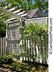 White trellis in a garden