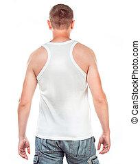 white trikó, képben látható, egy, fiatalember