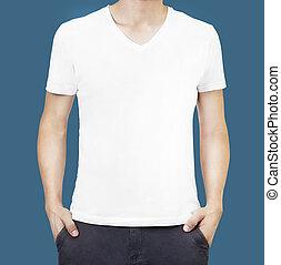 white trikó, képben látható, egy, fiatalember, sablon, elszigetelt
