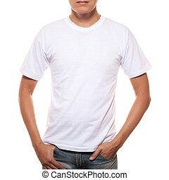 white trikó, képben látható, egy, fiatalember, sablon, elszigetelt, white, háttér
