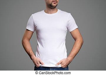 white trikó, képben látható, egy, fiatalember, template., szürke, háttér.