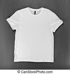 white trikó, sablon, képben látható, egy, szürke, háttér.