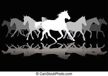 White Trotting horses silhouette on black background -...
