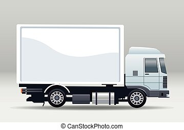 white truck car vehicle isolated icon