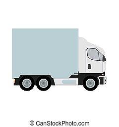 white truck car vehicle mockup icon